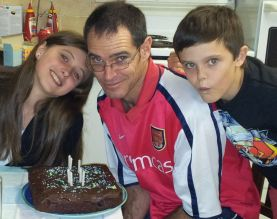 My Family with a gluten, dairy and sulphite free birthday cake that we could all eat.