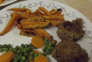 rissoles with sweet pot fries