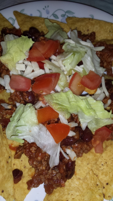 Quick Chilli Beef served as nachos