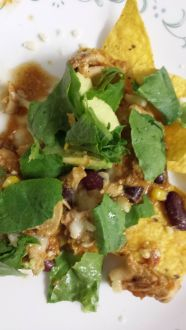 creamy salsa chicken served with corn chips, cheese, lettuce & avocado.