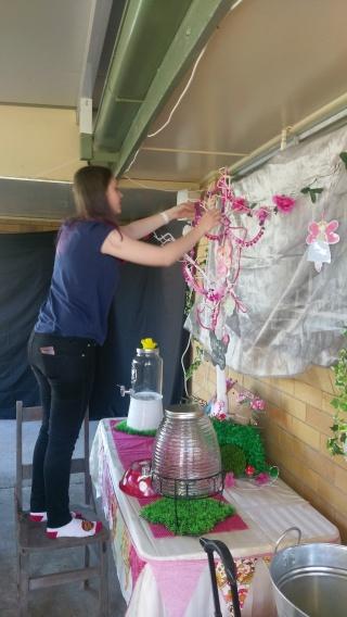 Decorating the fairy tree.