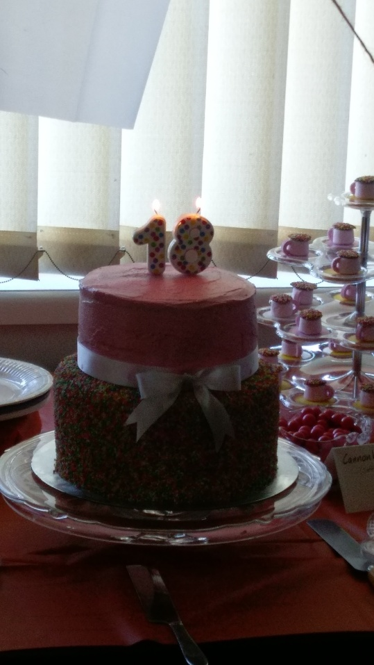 The cake with candles lit.