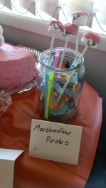 Marshmallow pirates with assorted lollies left from the pinata.