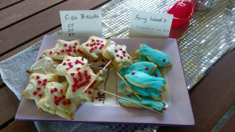 GF, DF & egg free fairy wand & fish biscuits.