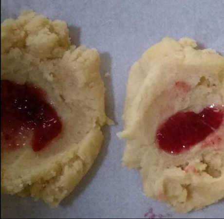 uncooked dough with jam