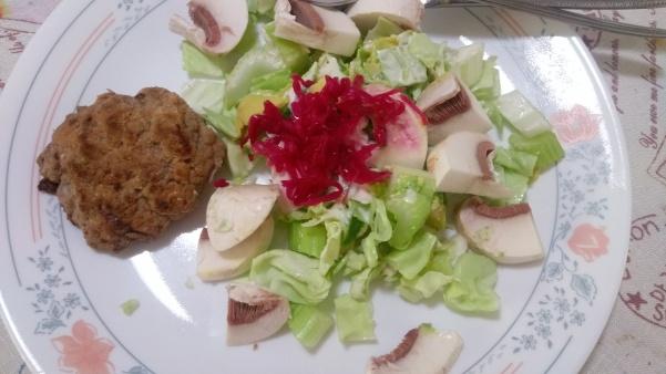 Rissole with cabbage, mushroom, celery, avocado, mayonnaise & Sweet Ruby Sauerkraut.
