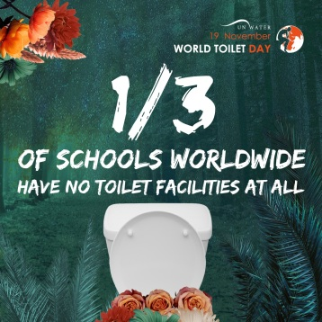 1/3 of schools worldwide have no toilet facilities at all