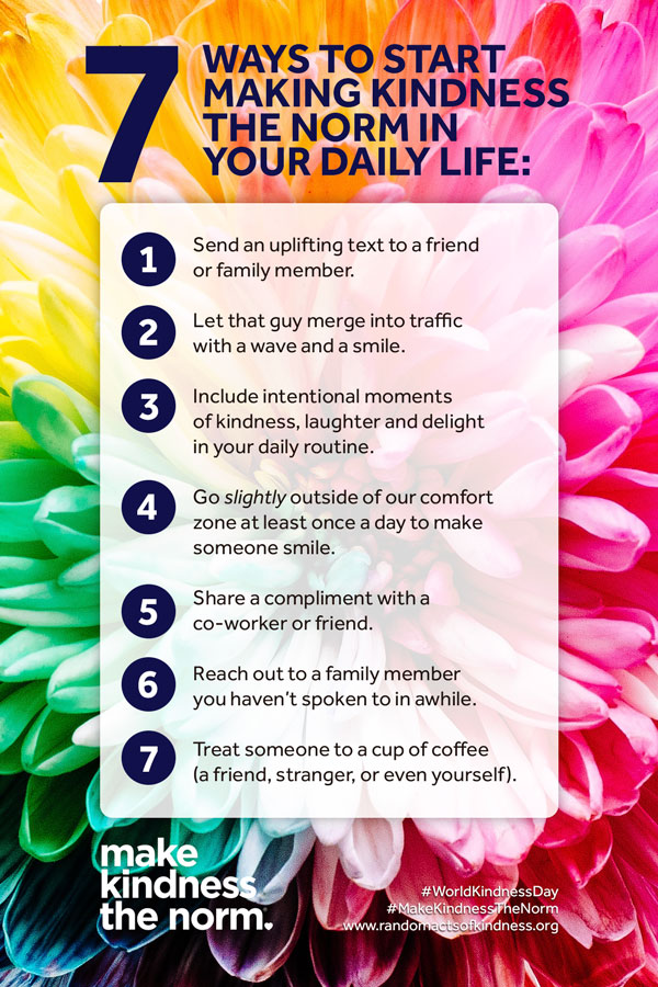 7 ways to start making kindness the norm - text, let people in, include intentional moments, go out of comfort zone, compliment, reach out, treat